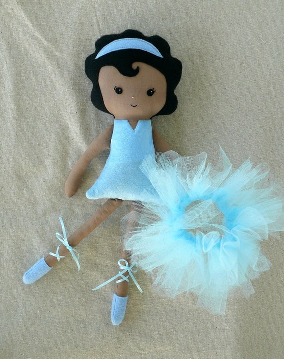 Cloth Doll Fabric Doll Blue Ballerina Black Hair - Made to Order
