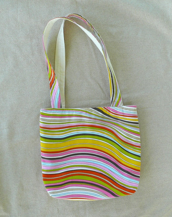 Colorful Stripes Fabric Tote Bag Summer Purse Beach Bag