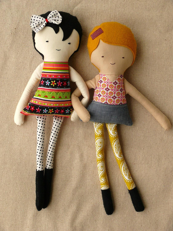 Handmade Fabric Dolls Best Friends