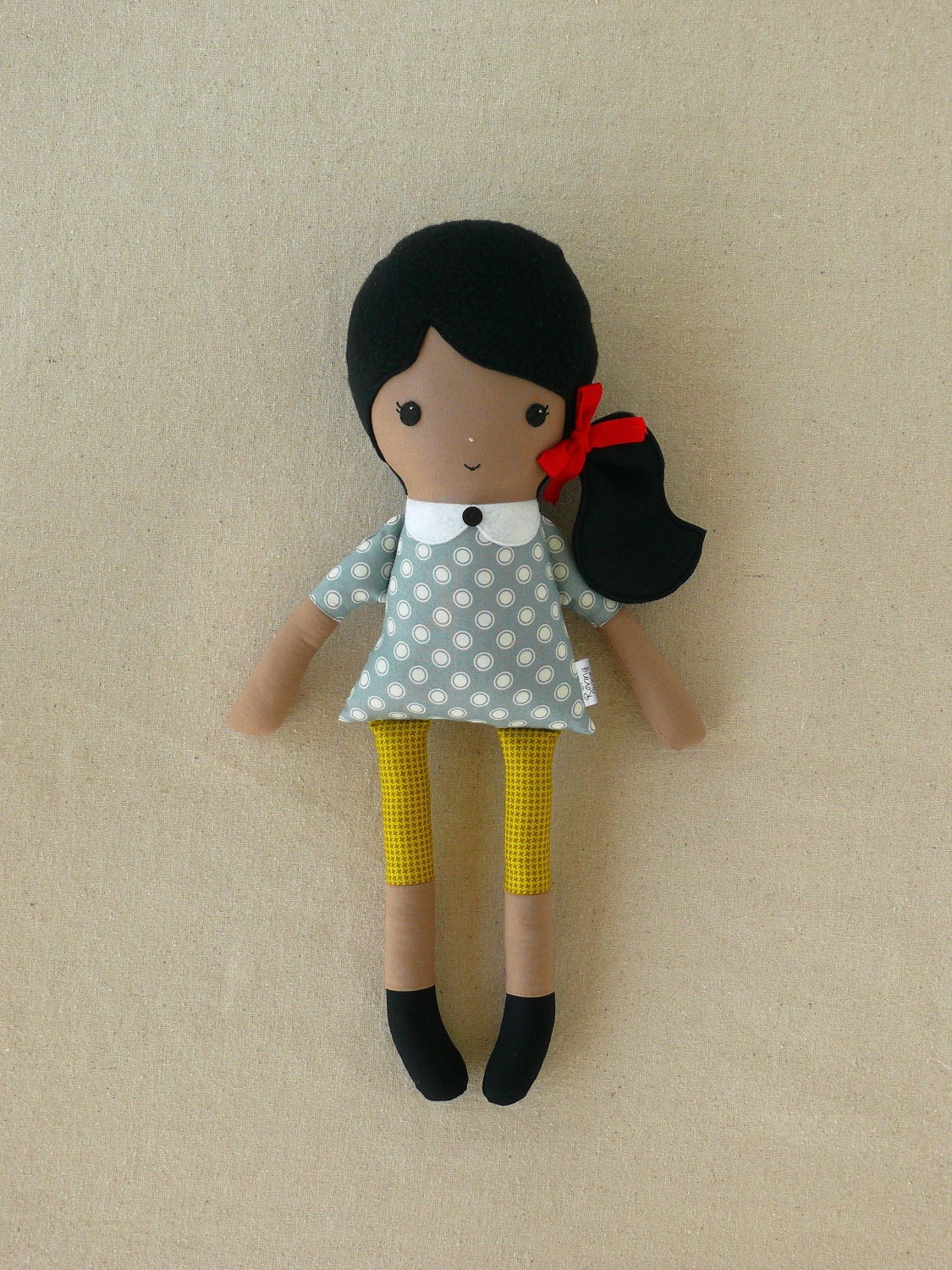 Fabric Doll Rag Doll With Black Hair In Gray Dot Top