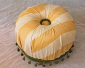 Tuffet in Yellow and Cream Silk with green trim