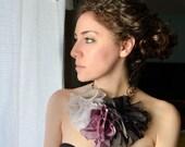 Violet Pop Ombre Silk Chiffon Ruffle Necklace