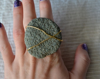 Large Textured Rock and Gold Wire Wrapped Ring