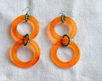 Retro Inspired Orange Lucite Rings with Mountain Jade Beaded Earrings