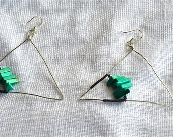 Turquoise in a Triangle Earrings