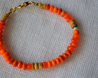 Bright Citrus Orange Czech Glass Beaded Bracelet with Wood Detail