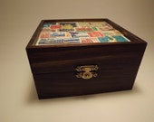 Inspired, Unique Keepsake Box Finished with a Decoupage of International Postage Stamps