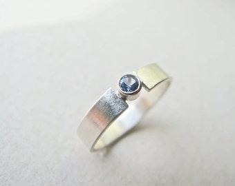 Modern Solitaire Ring - Aquamarine and Sterling Silver