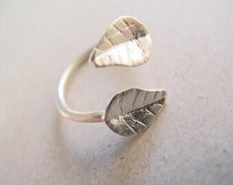 Leaf Ring (Sterling Silver - Adjustable)