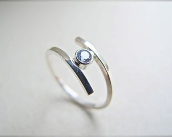 Modern Aquamarine Bypass Ring in Sterling Silver