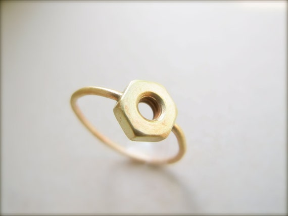 Gold Hex Nut Ring - Steampunk Ring