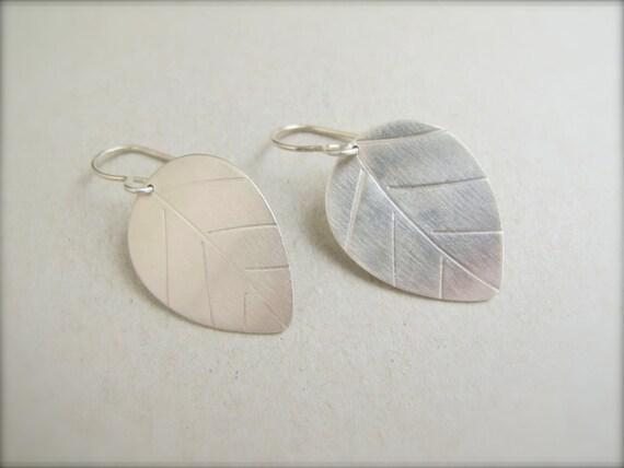 Leaf Earrings in Sterling Silver - Small