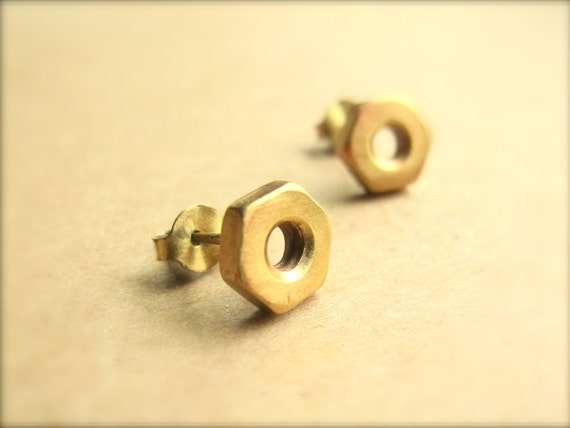 Gold Hex Nut Studs