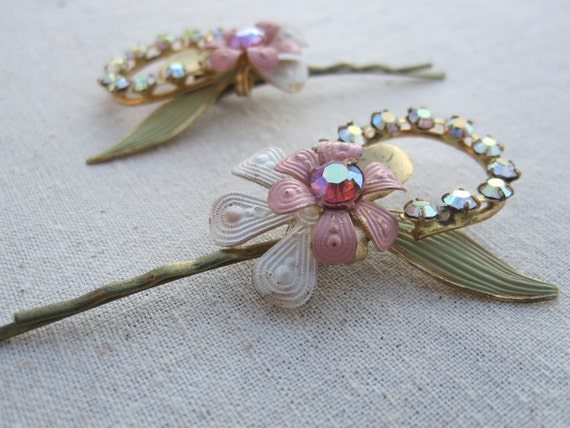 Vintage Jewelry Re Purposed Pink Flower and Rhinestone Hair or Bobby Pin