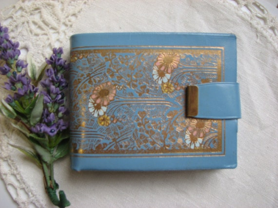 Vintage Blue Leather Wallet - Snap and Zipper