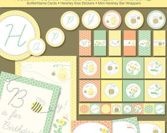 Bumble Bee Birthday Printable Party Kit, Instant Download - Digital File, PRINTABLE, D.I.Y.