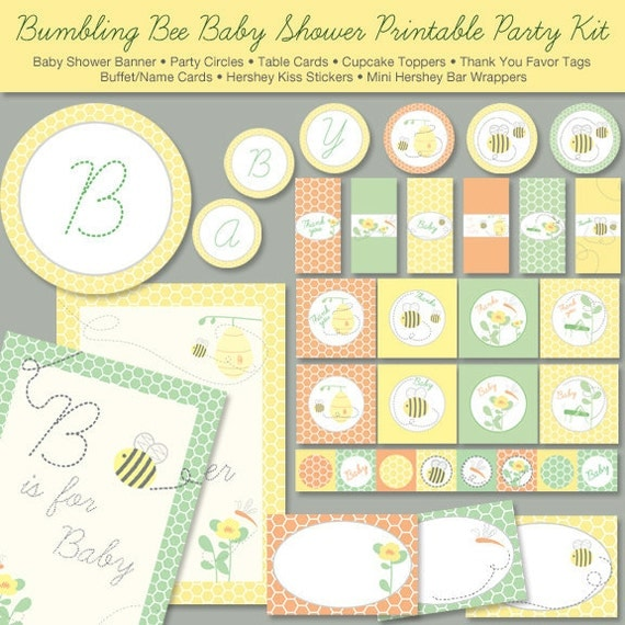 Good Items Similar To Bumble Bee Baby Shower Printable Party Kit, Instant  Download   Digital File, PRINTABLE, D.I.Y. On Etsy