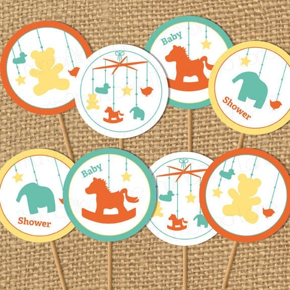 printable cupcake toppers baby shower baby mobile digital file