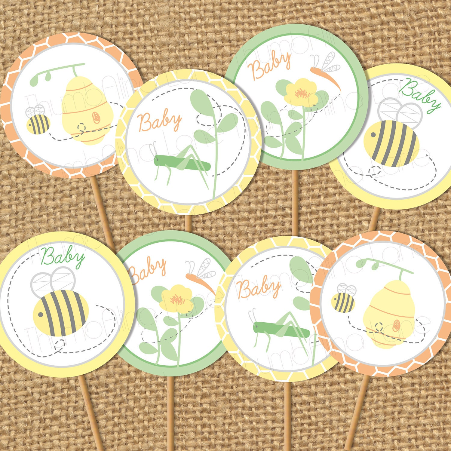 Bumble Bee Baby Shower Printable Cupcake Toppers Instant