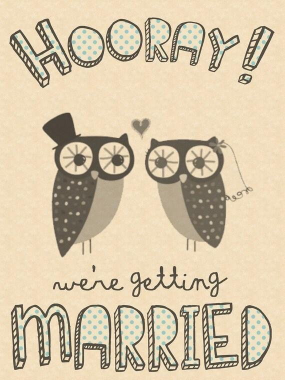Quirky owl wedding invitation printables.