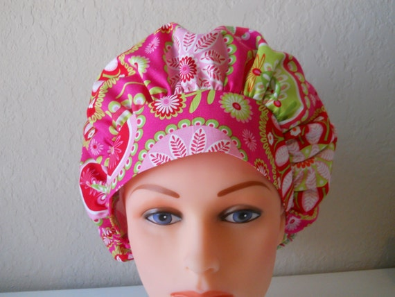 Pink  Paisley Bouffant Surgical Hat
