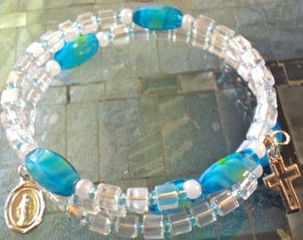 Turquoise Millifiore and Glass Cube Rosary Bracelet