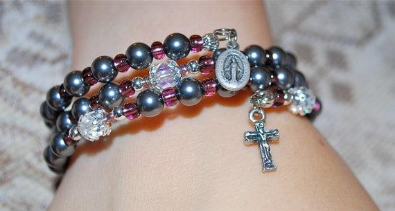 Tahitian Black Swarovski Glass Pearl Coil Rosary Bracelet