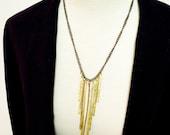 Modern Brass Fringe Statement Necklace, Antiqued Brass Chain