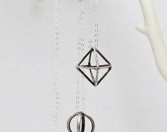 Geometric Sterling Silver Necklace, Simple Necklace, Tetrahedron, Circle, Diamond