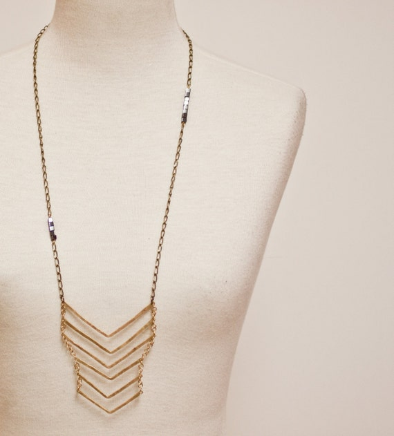 Brass Chevron Geometric Necklace with Hematite Beads, Brass Chain