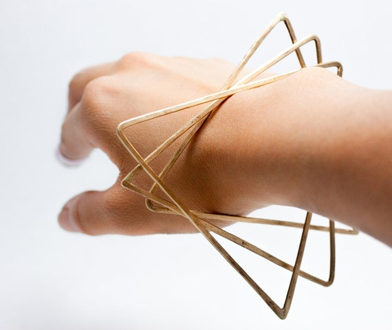 Triangle Trio Brass Bangles