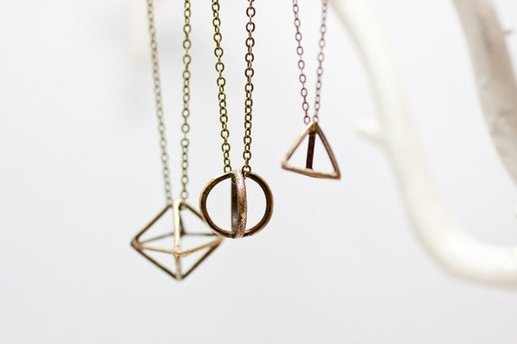Geometric Brass Orb Pendant Necklace