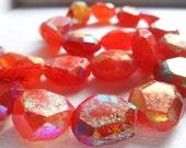 FULL STRAND Faceted Mystic AB Coated Carnelian Nugget Shaped Gemstone Beads Destash
