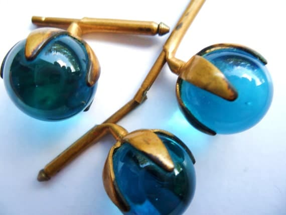Vintage Aqua Blue Orb Glass Ball Cufflink Tie Tack Trio Brass