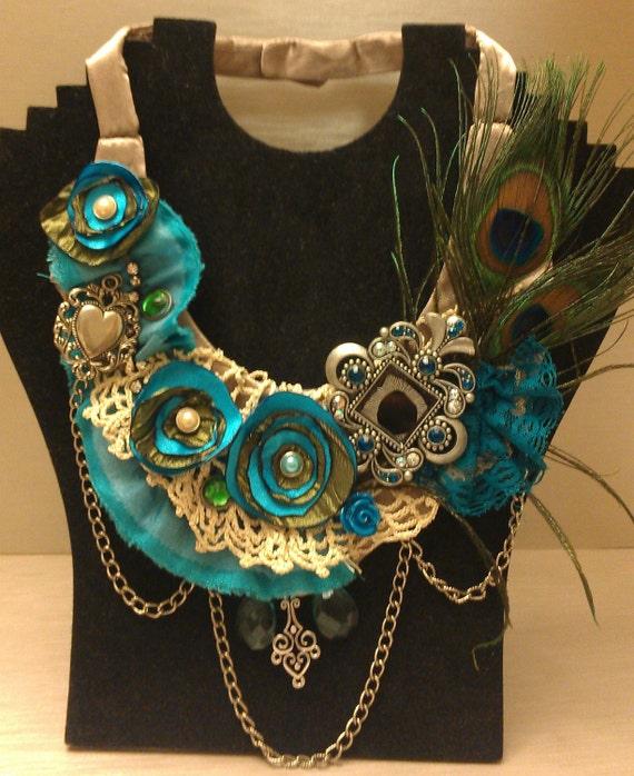 Blue Peacock Choker Steampunk Victorian Bridal