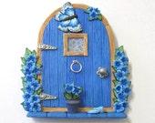 True Blue Fairy Door with Butterfly
