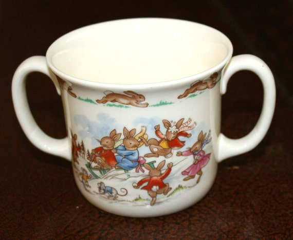 Reserve for Twigs Royal Doulton 2 handle cup Bunnykins winter scene English Fine Bone China