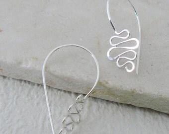 Swirl earrings - Silver swirl earrings, sterling silver, modern, daily wear