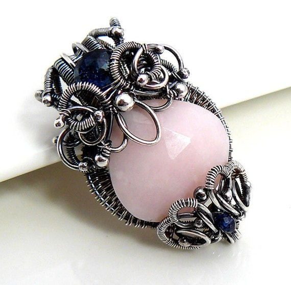 One of a kind, Oxidized sterling silver wire wrapped necklace with Pink opal and Kyanite