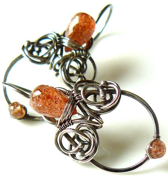 Sunstone earrings - Oxidized sterling silver earrings - Wire wrapped earrings - Wire wrapped sunstone