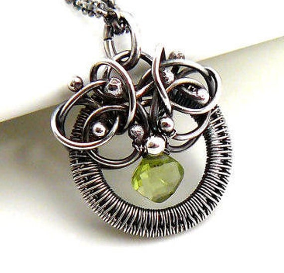 SALE - Wire wrapped peridot pendant - Sterling silver necklace, august birthstone