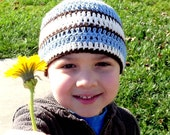Boy Crochet Hat -   Blue, Brown and creme