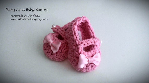 Crochet Baby Booties - Pink Baby Girl Booties - Mary Jane Baby Booties - Newborn, 0 to 3 months, 3-6 months, 6 to 12 months