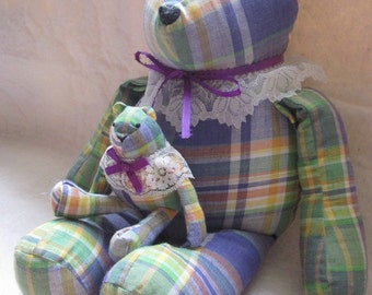 Big Bear & Tiny Bear Fabric Bears Set of 2