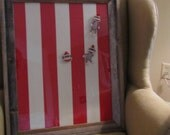 18x24 barnwood framed magent/memo board with modern red white stripes and sock monkey magnets