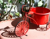 RESERVED: Red Metal Tricycle Planter - Cosima G.