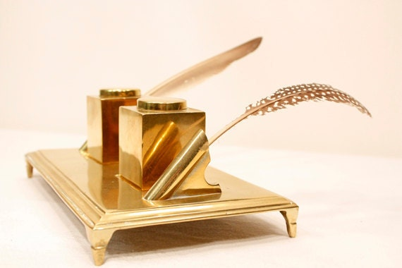 Vintage Solid Brass Inkwell Stand