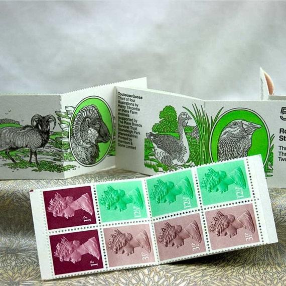 Four 50p British Folded Stamp Booklets - Rare Farm Animals
