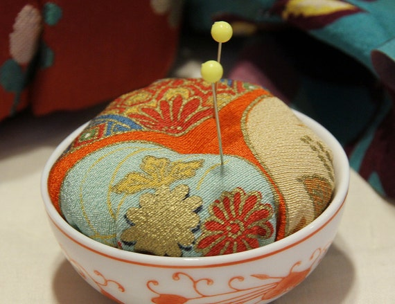 Pin Cushion with Japanese Kimono Fabric and small pottery, Orange, No.2