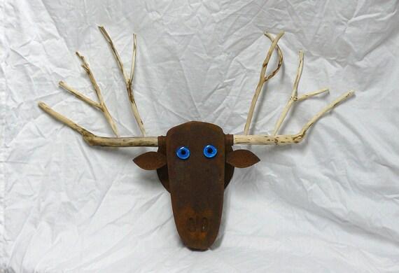 Welded steel garden art, Mellow Moose